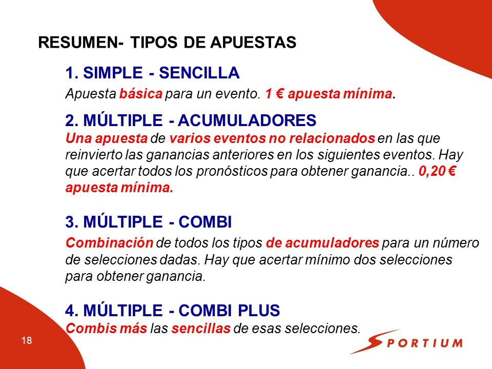 RESUMEN- TIPOS DE APUESTAS