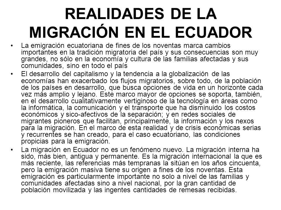 REALIDADES DE LA MIGRACIÓN EN EL ECUADOR