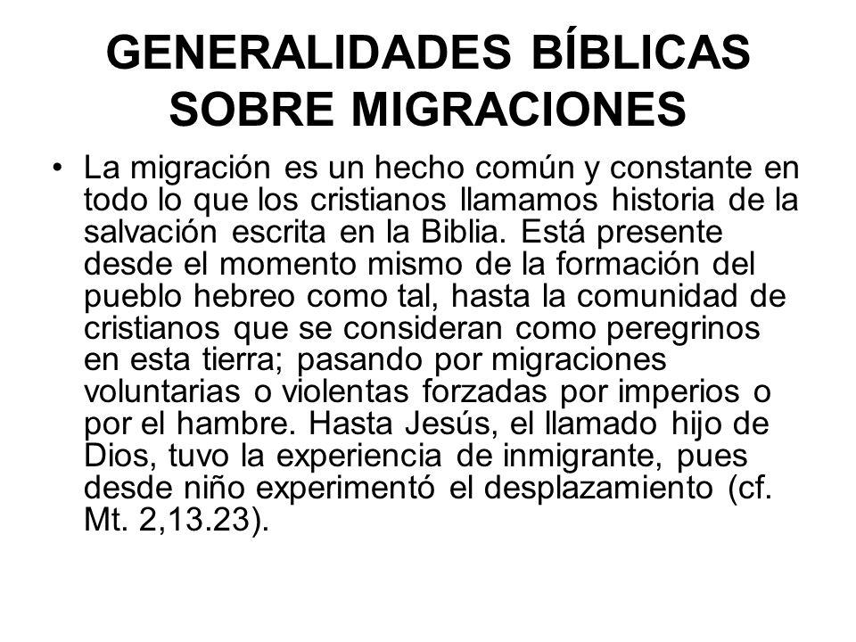 GENERALIDADES BÍBLICAS SOBRE MIGRACIONES