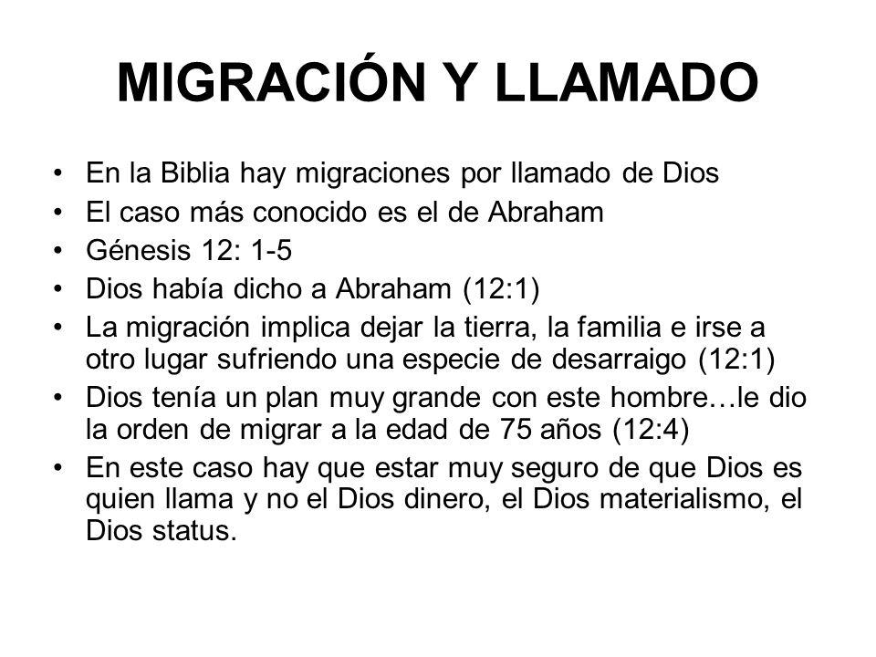 MIGRACIÓN Y LLAMADO En la Biblia hay migraciones por llamado de Dios