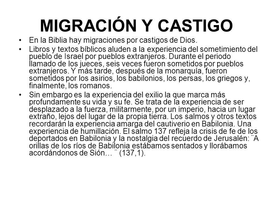 MIGRACIÓN Y CASTIGO En la Biblia hay migraciones por castigos de Dios.