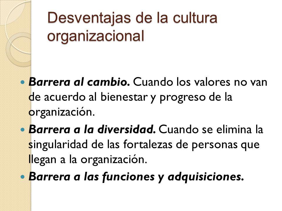 Desventajas de la cultura organizacional
