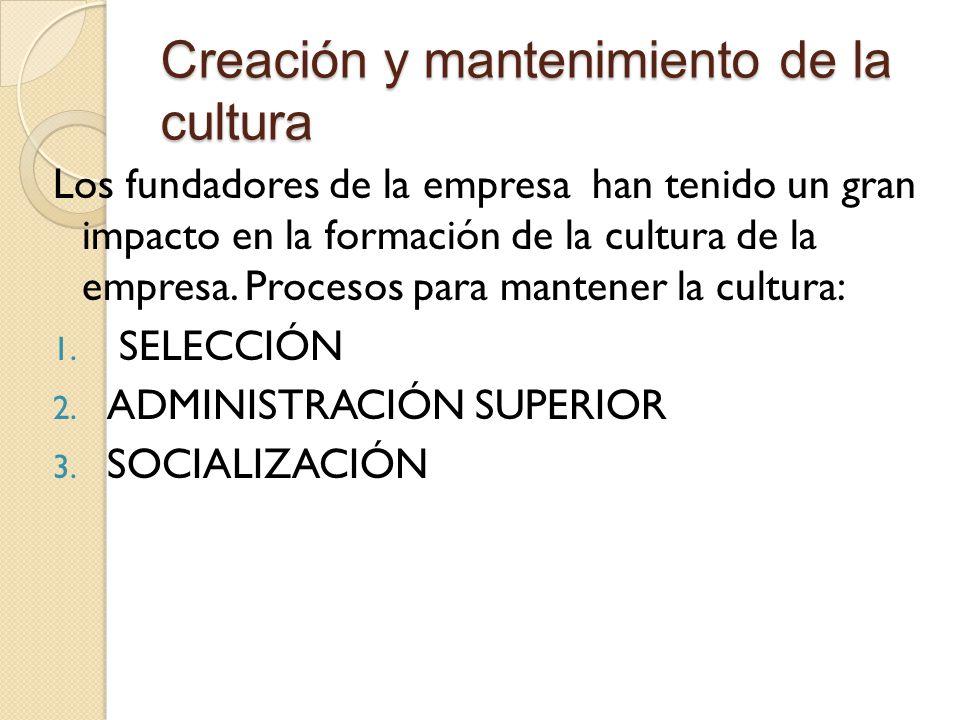 Creación y mantenimiento de la cultura