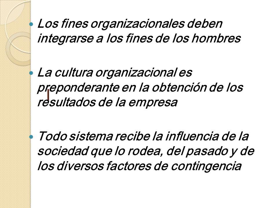 l Los fines organizacionales deben integrarse a los fines de los hombres.