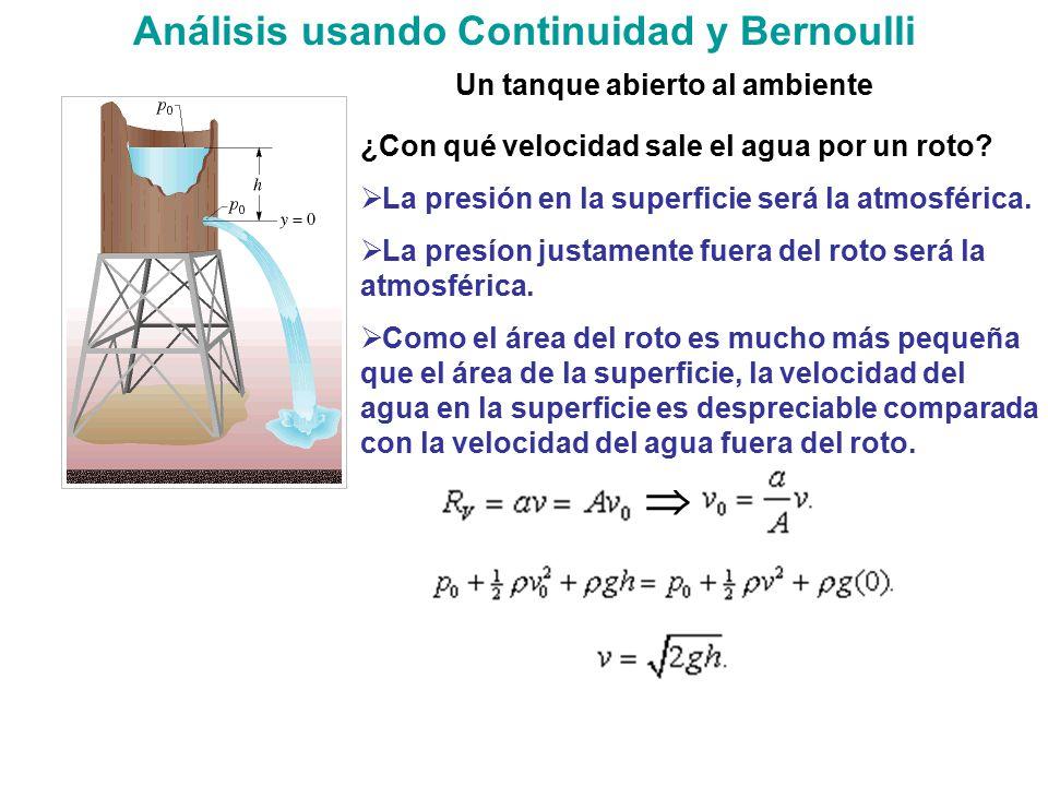 Análisis usando Continuidad y Bernoulli Un tanque abierto al ambiente