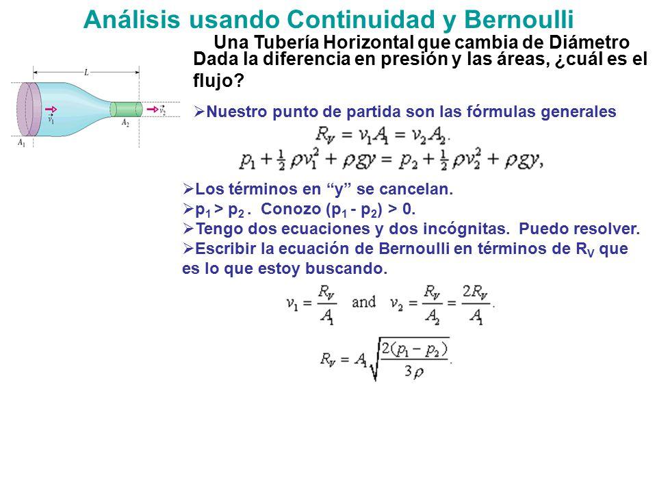 Análisis usando Continuidad y Bernoulli