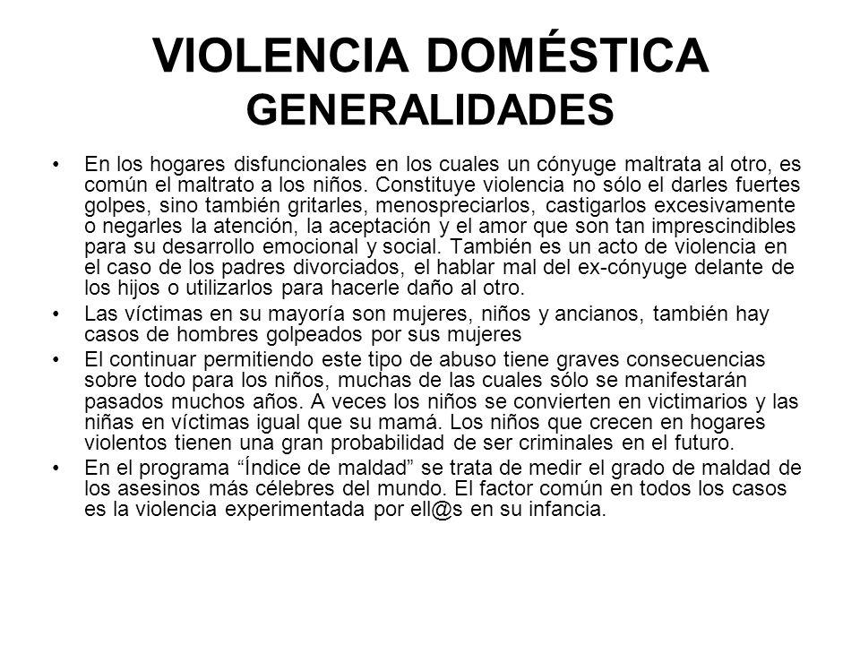 VIOLENCIA DOMÉSTICA GENERALIDADES