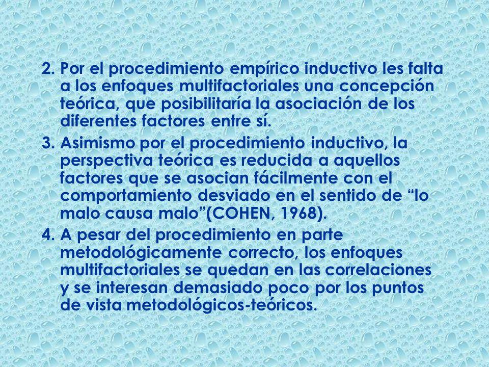2. Por el procedimiento empírico inductivo les falta a los enfoques multifactoriales una concepción teórica, que posibilitaría la asociación de los diferentes factores entre sí.