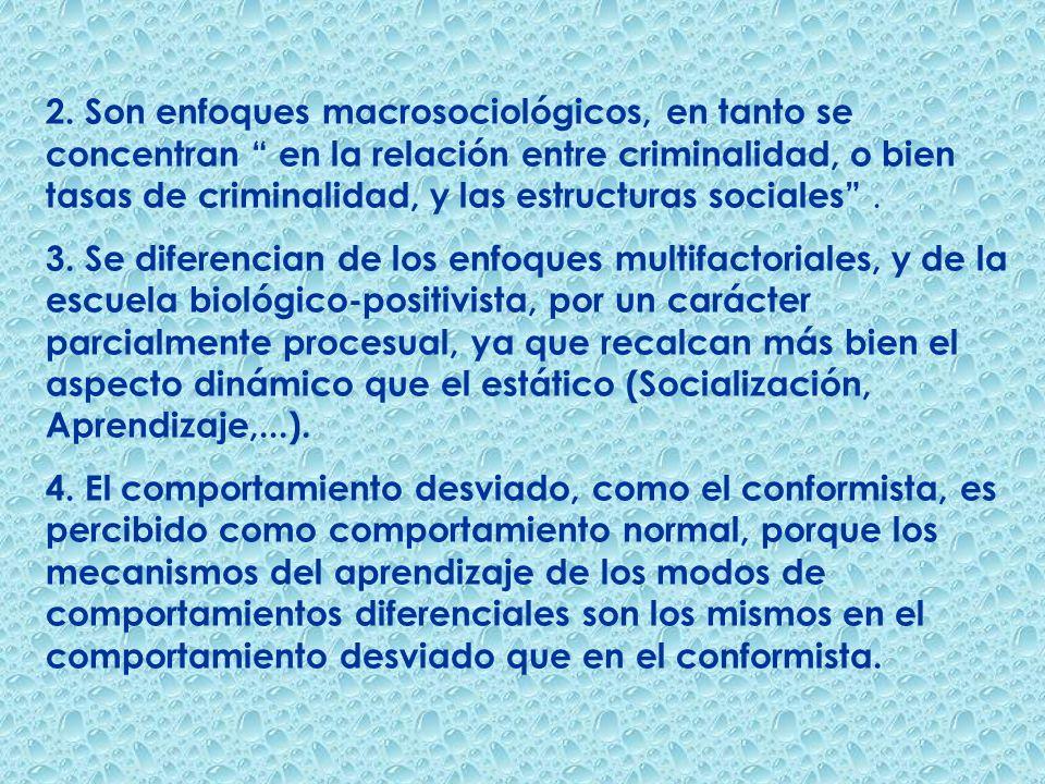 2. Son enfoques macrosociológicos, en tanto se concentran en la relación entre criminalidad, o bien tasas de criminalidad, y las estructuras sociales .