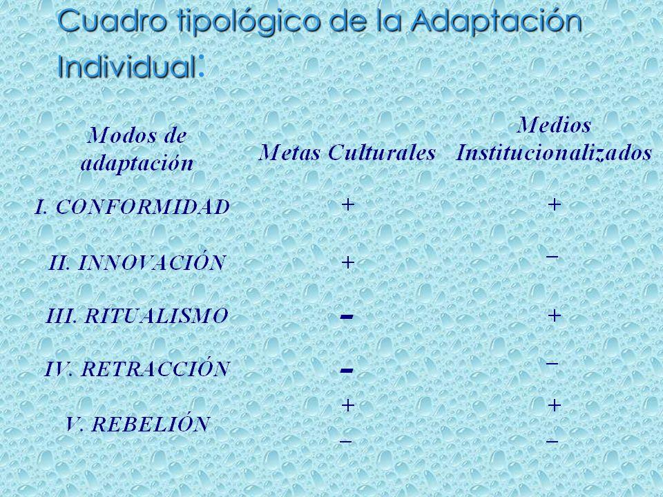 Cuadro tipológico de la Adaptación Individual: