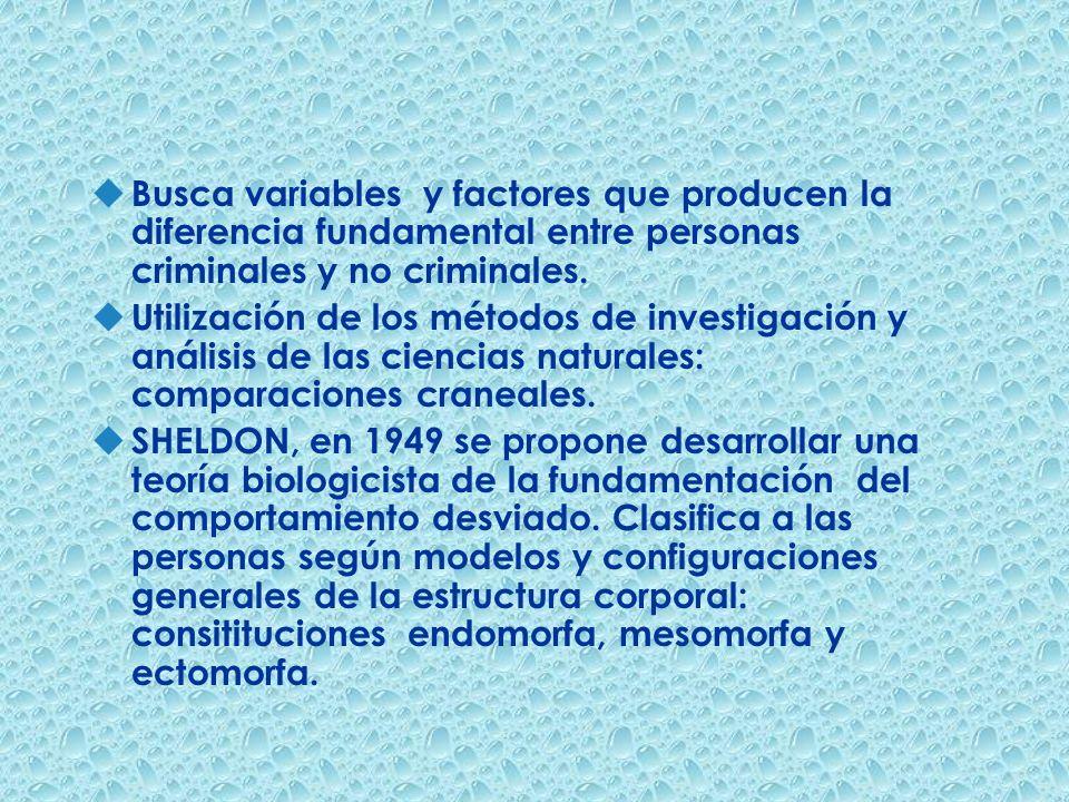 Busca variables y factores que producen la diferencia fundamental entre personas criminales y no criminales.
