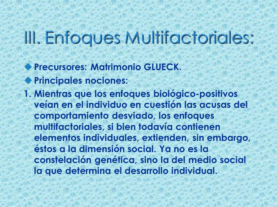 III. Enfoques Multifactoriales: