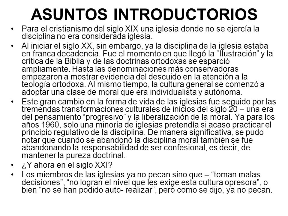 ASUNTOS INTRODUCTORIOS
