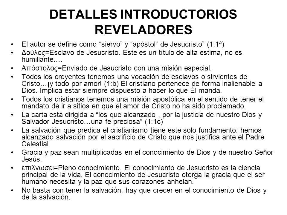 DETALLES INTRODUCTORIOS REVELADORES