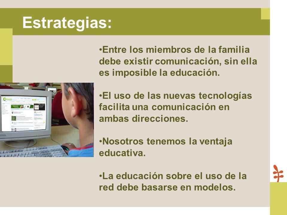Estrategias: Entre los miembros de la familia debe existir comunicación, sin ella es imposible la educación.