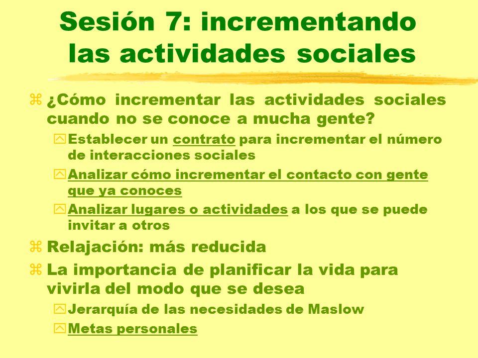 Sesión 7: incrementando las actividades sociales