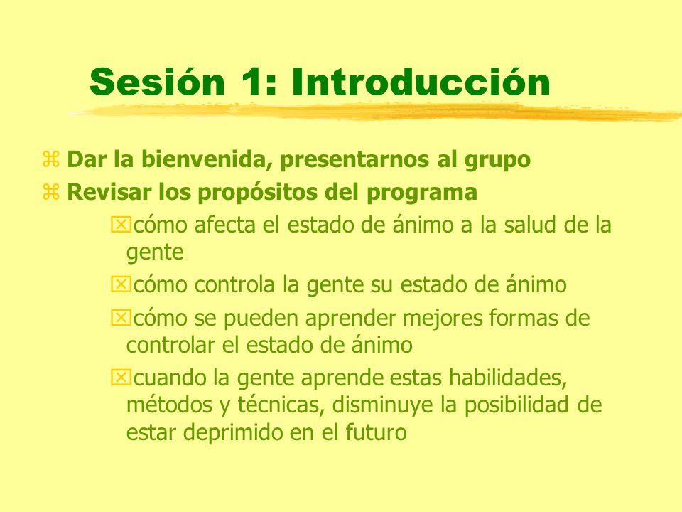 Sesión 1: Introducción Dar la bienvenida, presentarnos al grupo