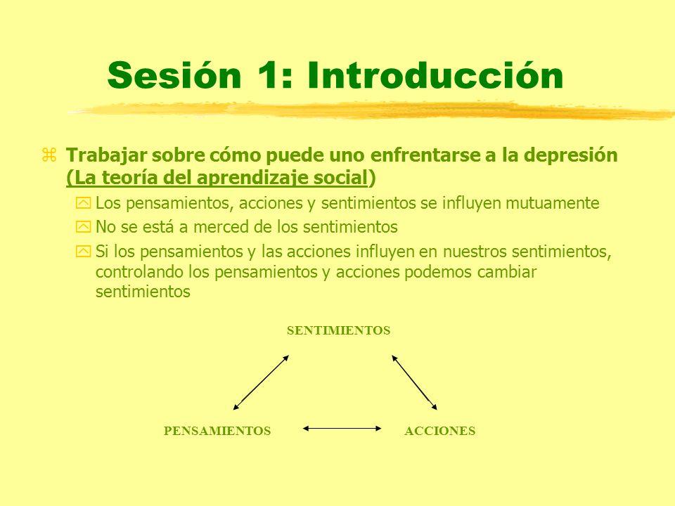 Sesión 1: Introducción Trabajar sobre cómo puede uno enfrentarse a la depresión (La teoría del aprendizaje social)