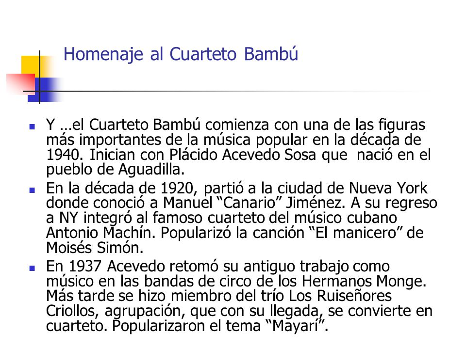 Homenaje al Cuarteto Bambú