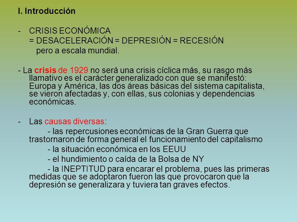 I. Introducción CRISIS ECONÓMICA. = DESACELERACIÓN = DEPRESIÓN = RECESIÓN. pero a escala mundial.