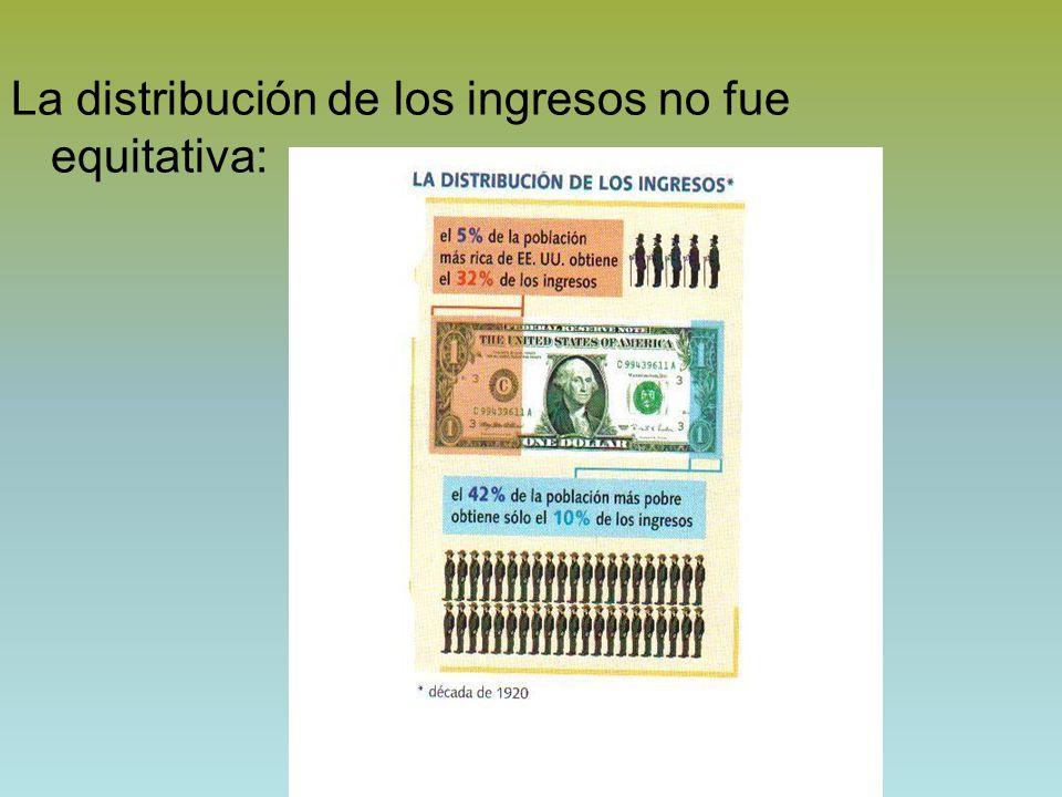 La distribución de los ingresos no fue equitativa:
