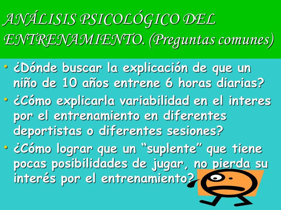 ANÁLISIS PSICOLÓGICO DEL ENTRENAMIENTO. (Preguntas comunes)