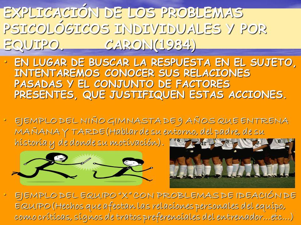 EXPLICACIÓN DE LOS PROBLEMAS PSICOLÓGICOS INDIVIDUALES Y POR EQUIPO