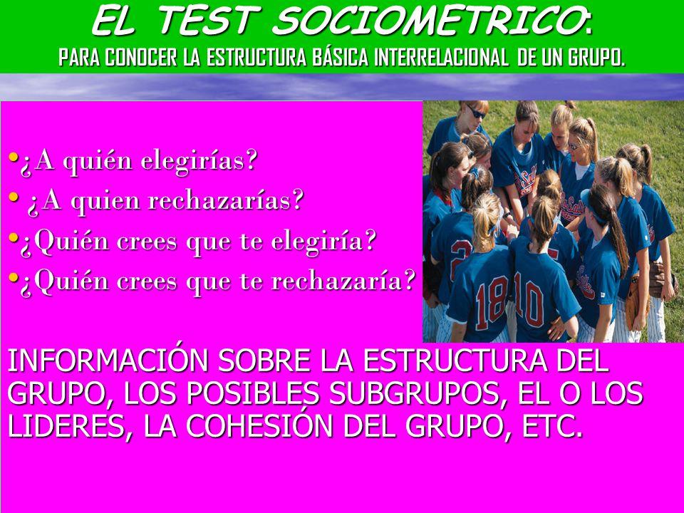 EL TEST SOCIOMETRICO: PARA CONOCER LA ESTRUCTURA BÁSICA INTERRELACIONAL DE UN GRUPO.