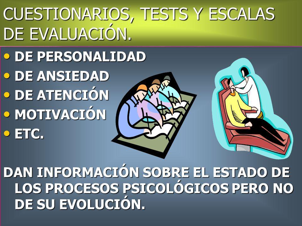 CUESTIONARIOS, TESTS Y ESCALAS DE EVALUACIÓN.