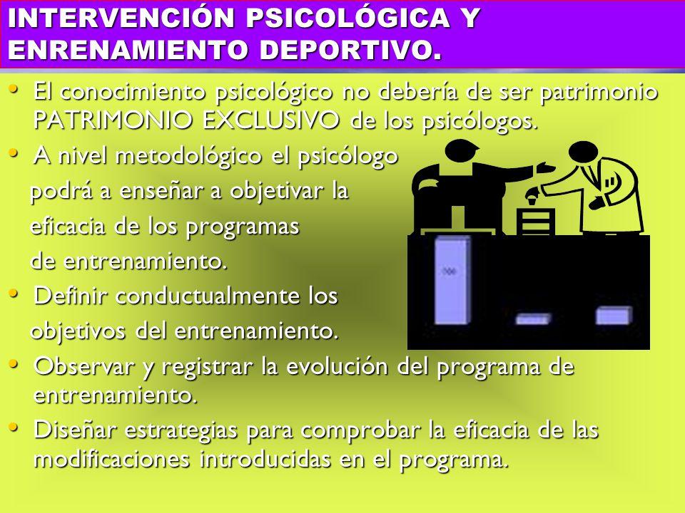 INTERVENCIÓN PSICOLÓGICA Y ENRENAMIENTO DEPORTIVO.