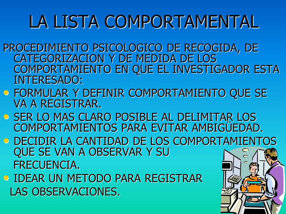 LA LISTA COMPORTAMENTAL
