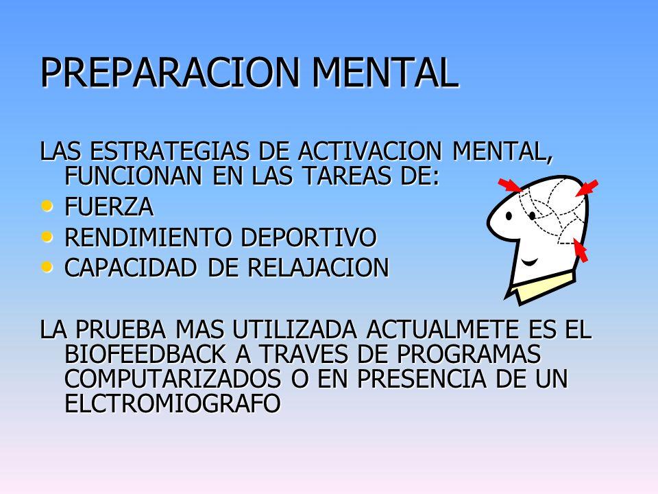 PREPARACION MENTAL LAS ESTRATEGIAS DE ACTIVACION MENTAL, FUNCIONAN EN LAS TAREAS DE: FUERZA. RENDIMIENTO DEPORTIVO.