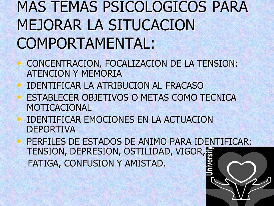 MAS TEMAS PSICOLOGICOS PARA MEJORAR LA SITUCACION COMPORTAMENTAL: