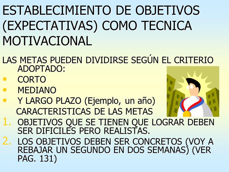 ESTABLECIMIENTO DE OBJETIVOS (EXPECTATIVAS) COMO TECNICA MOTIVACIONAL
