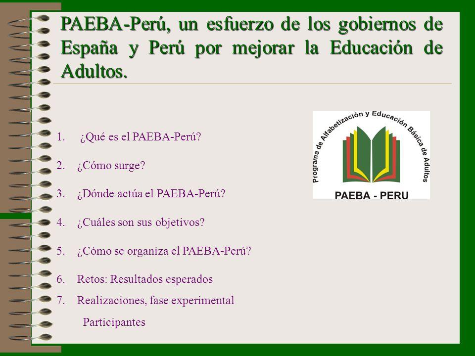 PAEBA-Perú, un esfuerzo de los gobiernos de España y Perú por mejorar la Educación de Adultos.