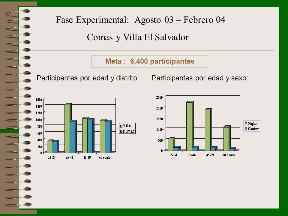 Fase Experimental: Agosto 03 – Febrero 04 Comas y Villa El Salvador