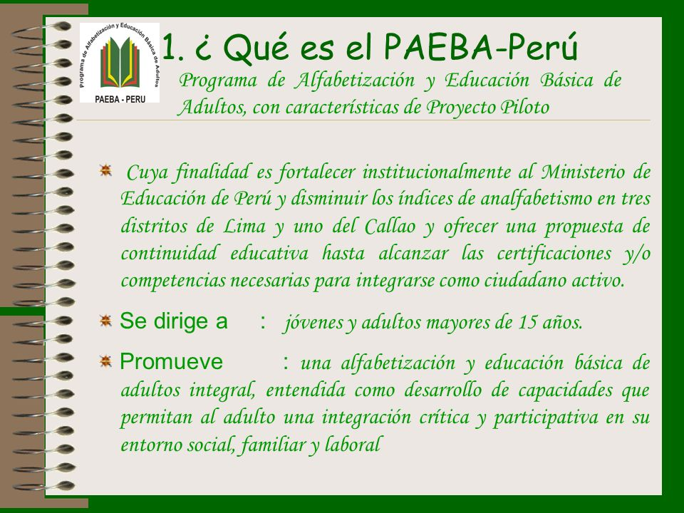 ¿ Qué es el PAEBA-Perú Programa de Alfabetización y Educación Básica de Adultos, con características de Proyecto Piloto.