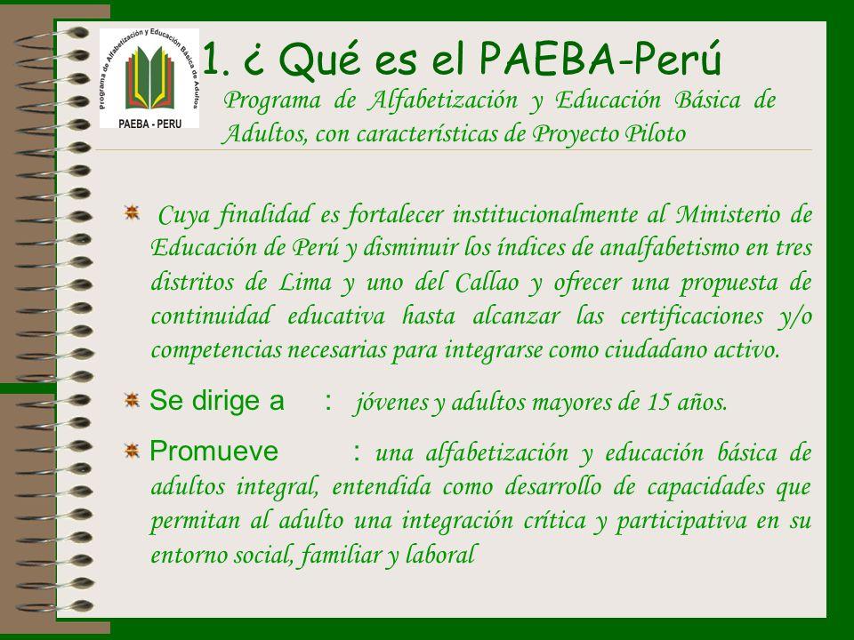 ¿ Qué es el PAEBA-PerúPrograma de Alfabetización y Educación Básica de Adultos, con características de Proyecto Piloto.