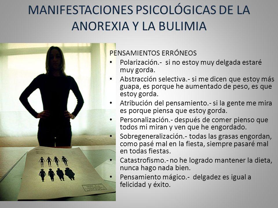 MANIFESTACIONES PSICOLÓGICAS DE LA ANOREXIA Y LA BULIMIA