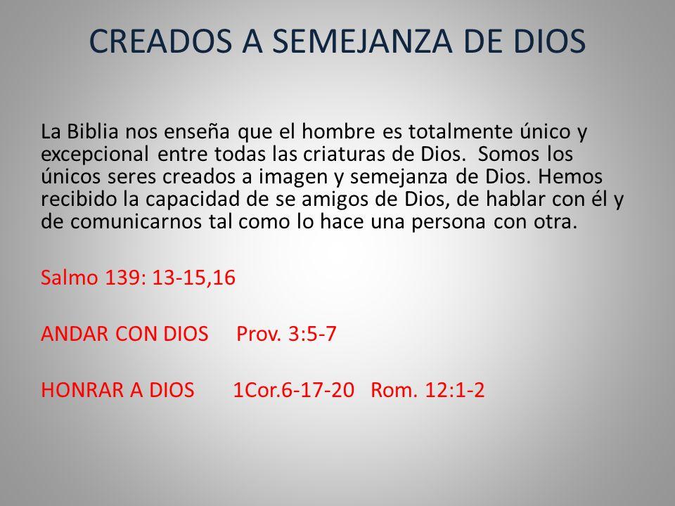 CREADOS A SEMEJANZA DE DIOS