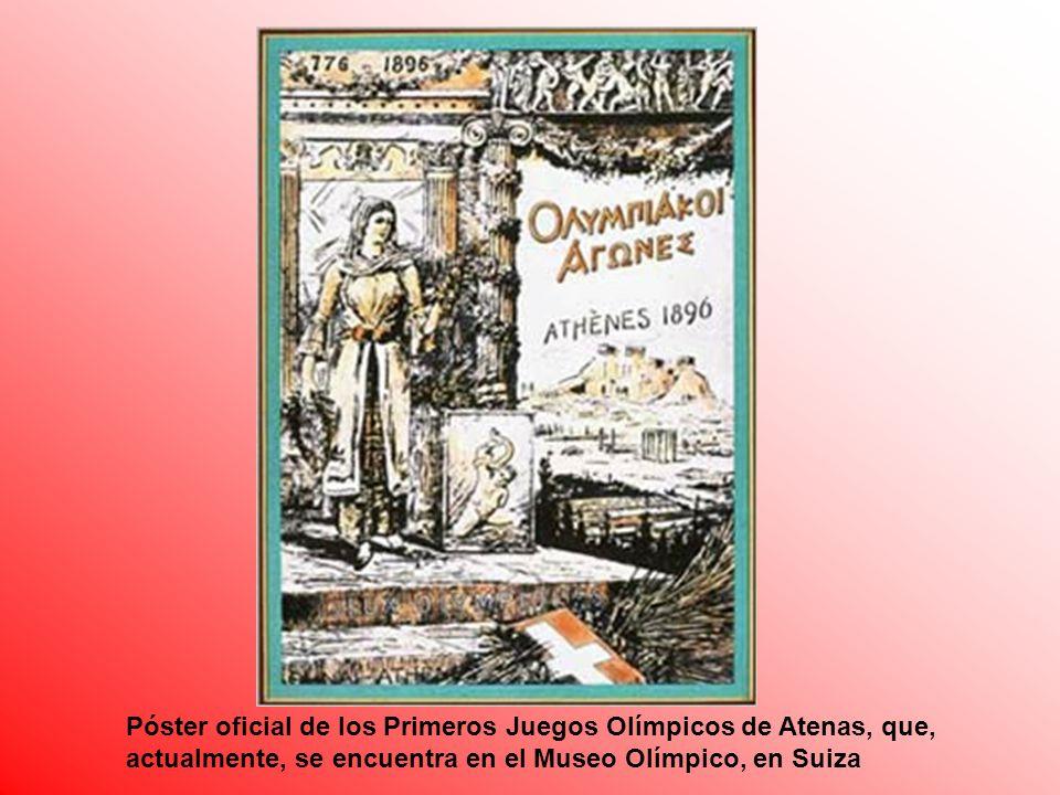 Póster oficial de los Primeros Juegos Olímpicos de Atenas, que, actualmente, se encuentra en el Museo Olímpico, en Suiza