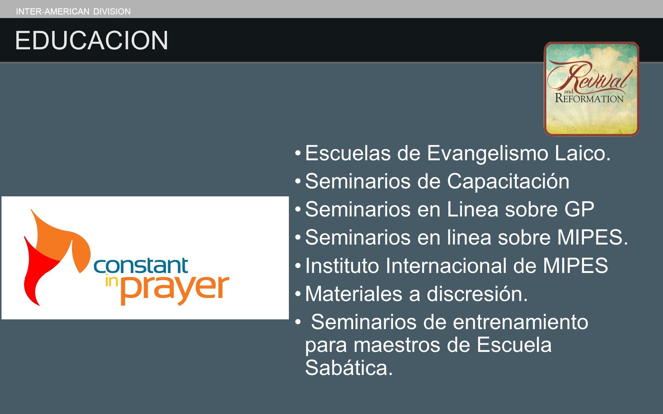 EDUCACION Escuelas de Evangelismo Laico. Seminarios de Capacitación