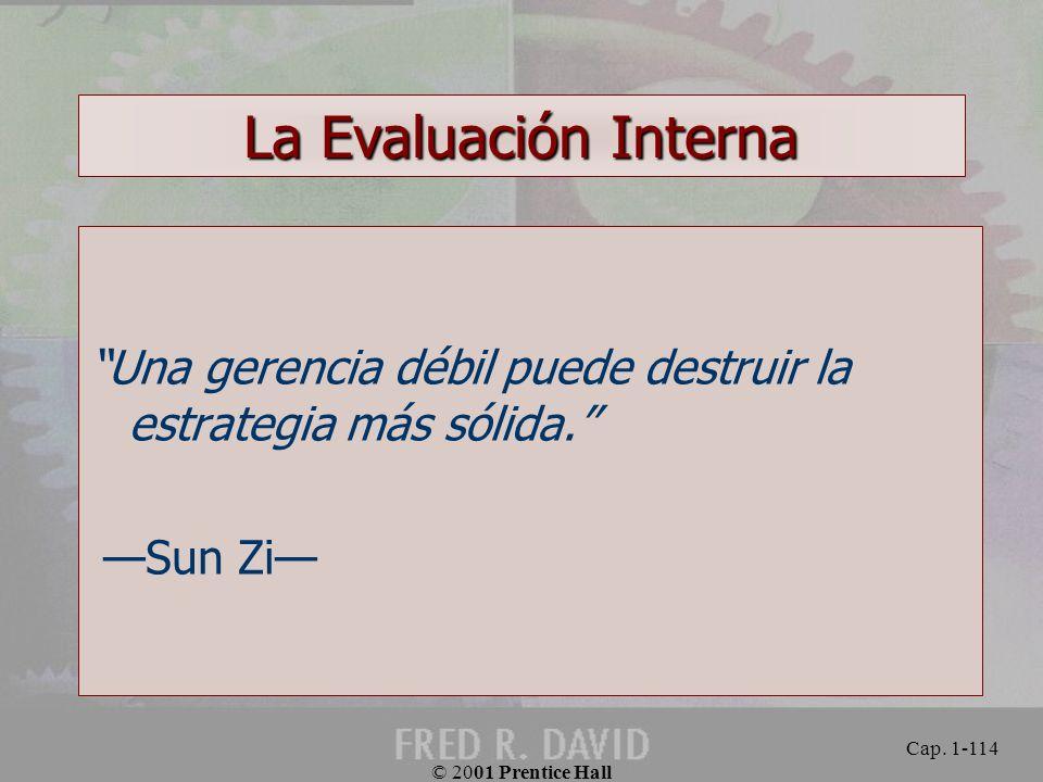 La Evaluación Interna Una gerencia débil puede destruir la estrategia más sólida. —Sun Zi— © 2001 Prentice Hall.