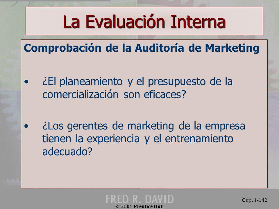 La Evaluación Interna Comprobación de la Auditoría de Marketing