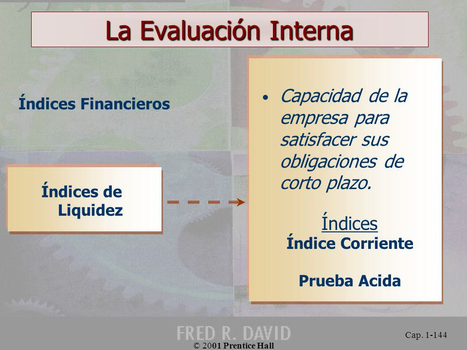 La Evaluación Interna Índices Financieros. Capacidad de la empresa para satisfacer sus obligaciones de corto plazo.
