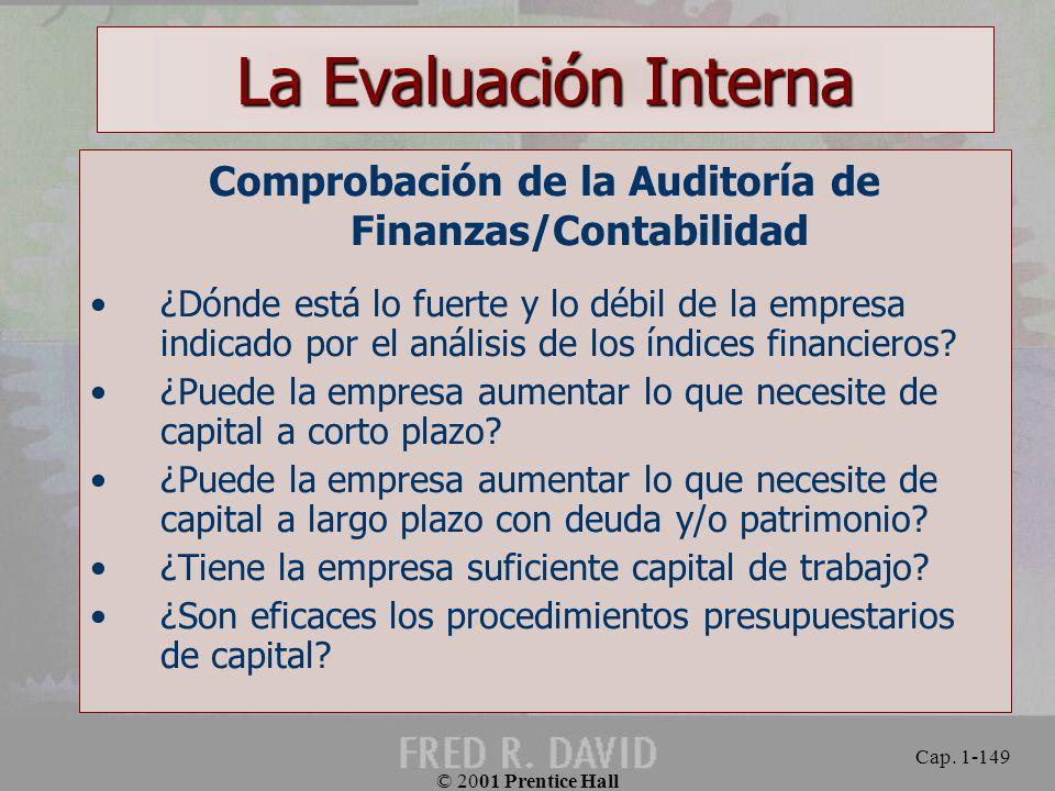 Comprobación de la Auditoría de Finanzas/Contabilidad