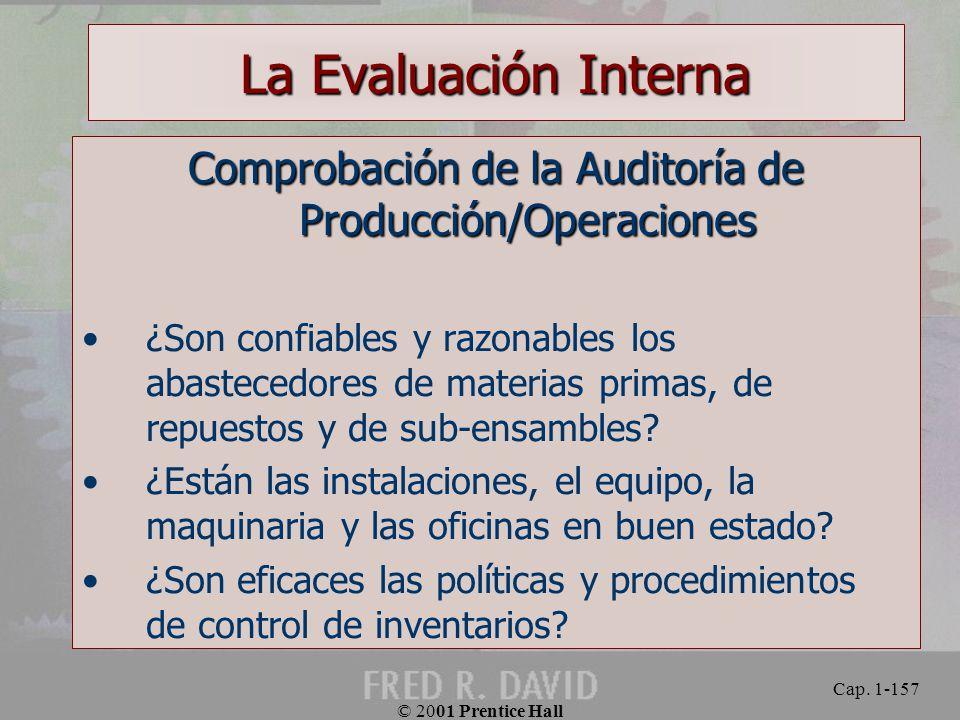 Comprobación de la Auditoría de Producción/Operaciones