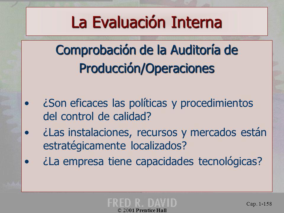 La Evaluación Interna Comprobación de la Auditoría de