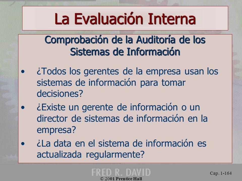 La Evaluación Interna Comprobación de la Auditoría de los