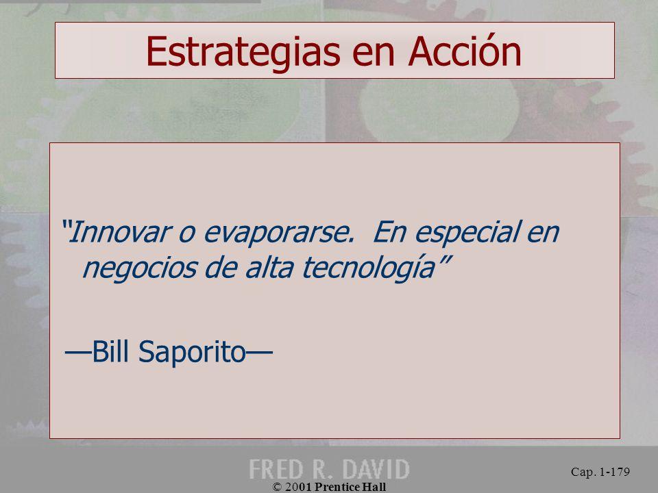 Estrategias en Acción Innovar o evaporarse. En especial en negocios de alta tecnología —Bill Saporito—